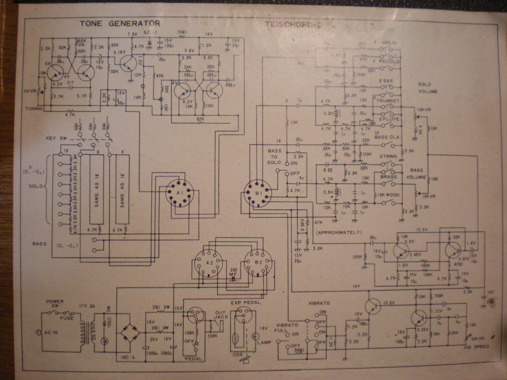 Schematics Free Schematic Diagram Download V Teischord C1 This Is The Version With Bass Octave And 4 Way Selector Switch 16mb Thanks To Lasse For Sending One